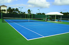 hard court with cushion and acrylic color tennis court surface