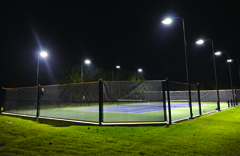 Tennis Court at Night with Lighting
